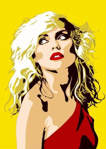 BLONDIE - Debbie Harry -PAINT STYLE YELLOW / canvas print - self adhesive poster - photo print